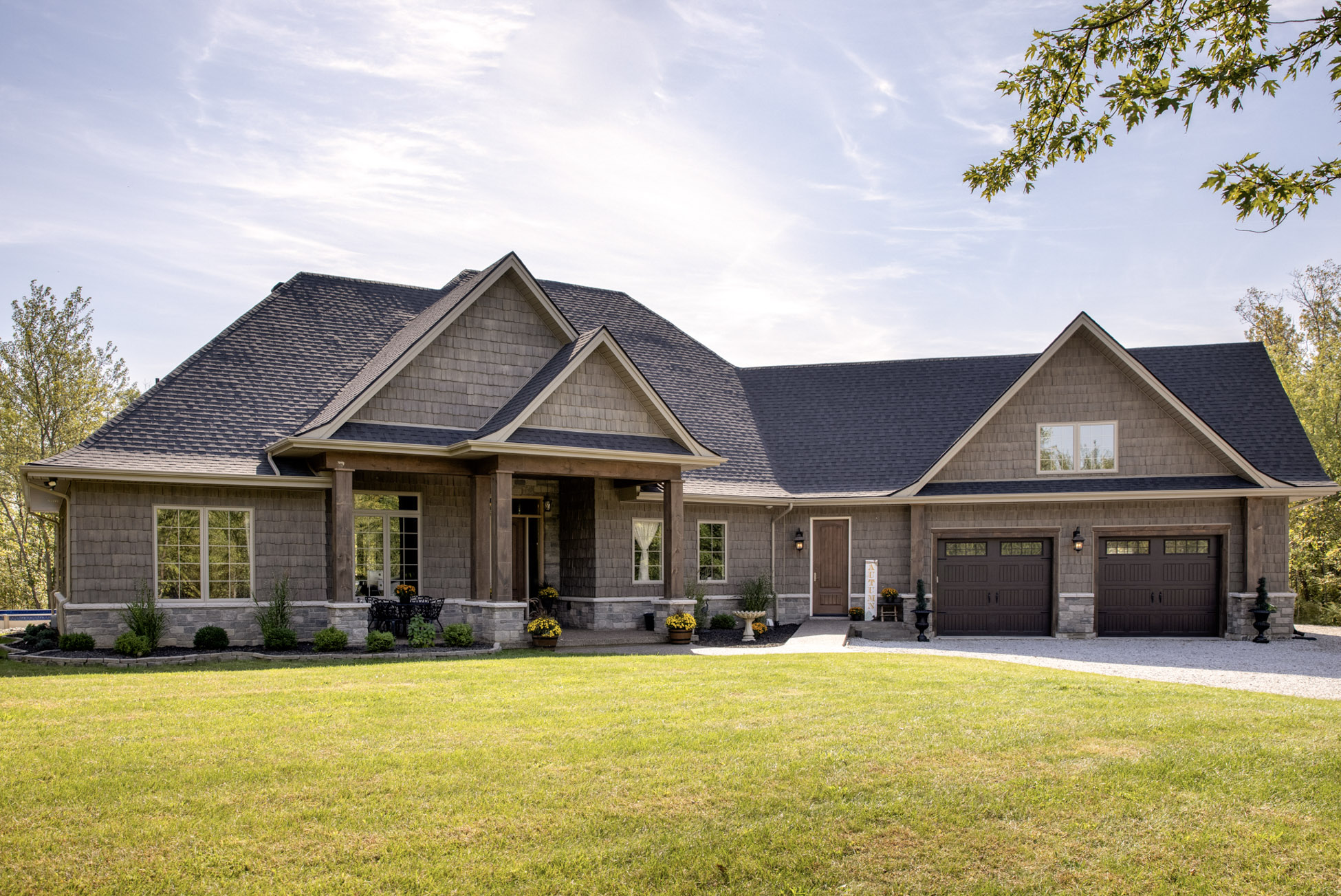 front exterior of large bungalow home